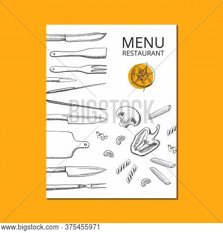 Menu Cover Typography Poster Template, Text And Food Sketch Symbols. Vector Illustration With Foodst