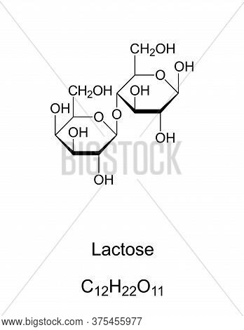 Lactose, Milk Sugar, Chemical Structure. A Disaccharide Composed Of The Two Monosaccharides Galactos