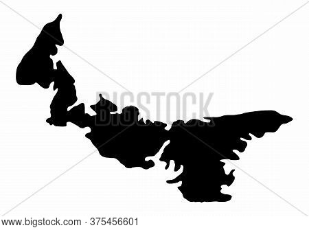 The Prince Edward Island Dark Silhouette Map Isolated On White Background, Canada