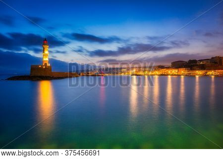 Lighthouse of the old Venetian port in Chania, Crete. Greece