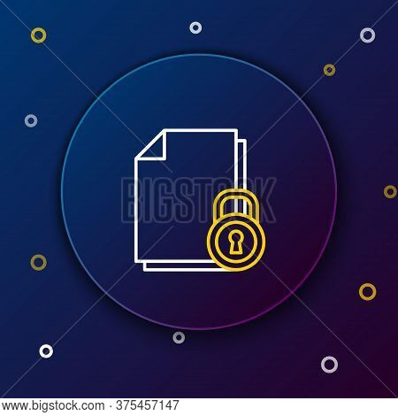 Line Document And Lock Icon Isolated On Blue Background. File Format And Padlock. Security, Safety,