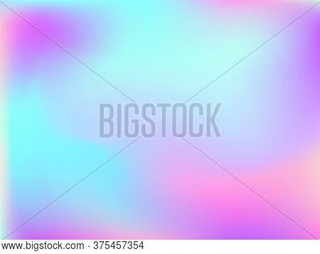 Holographic Gradient Neon Vector Illustration. Bright Iridescent Mermaid Background. Hologram Colors