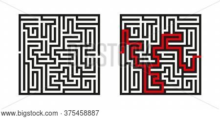 Black Square Vector Maze With Solution Isolated On White Background. Black Labyrinth With One Right