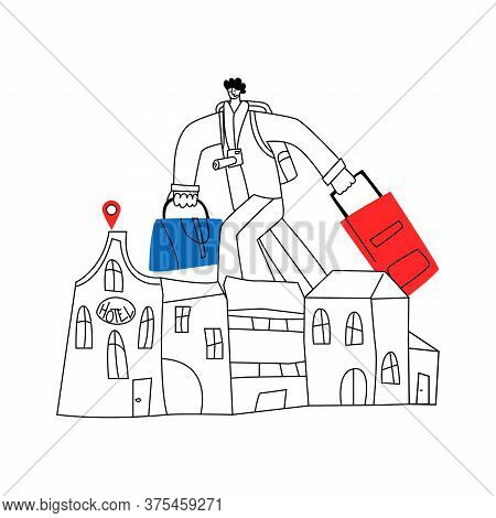 Vector Linear Abstract Illustration Enlarged Man Walking With Tourist Bags And Looking For Hotel. Co
