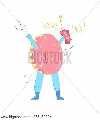 Vector Cartoon Illustration With Promoter Wearing Donut Costume. In His Hand, He Holds Flyers And In