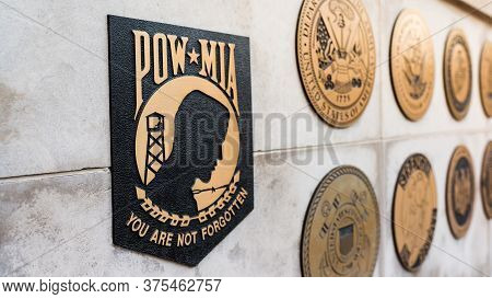 Chicago Il Usa- June 30, 2018- Pow*mia Emblem, Vietnam Veterans Memorial (for Editorial Use Only)