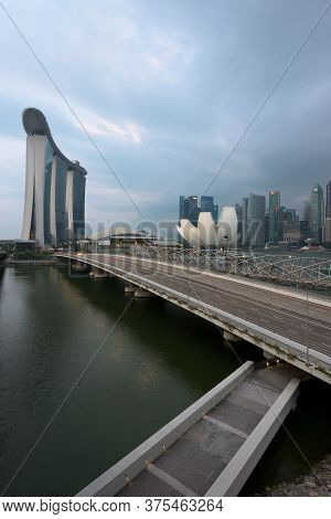 Singapore - 30 Aug 2019: Marina Bay Seen From The Highway Crossover, With Marina Bay Sands Resort, T