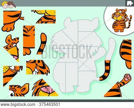 Cartoon Illustration Of Educational Jigsaw Puzzle Game For Children With Tiger Animal Character