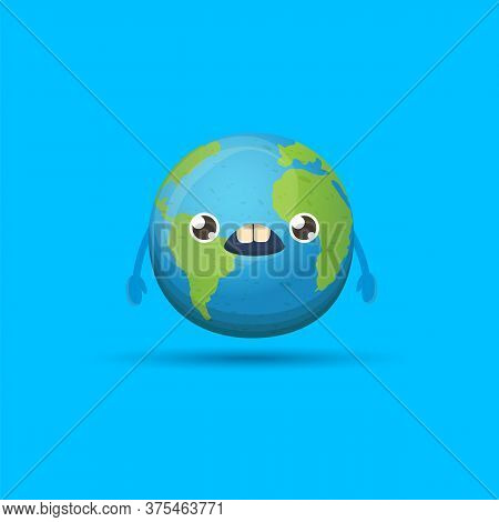 Cartoon Cute Smiling Earth Planet Character Isolated On Blue Background. Eath Day Concept Design Par