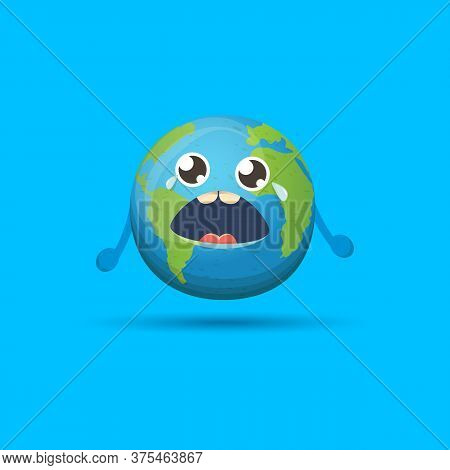 Cartoon Cute Crying Baby Earth Planet Character Isolated On Blue Background. Eath Dayor Save Eath Co