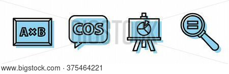 Set Line Xyz Coordinate System, Calculation, Tablet With Calculator And Paper Clip Icon. Vector