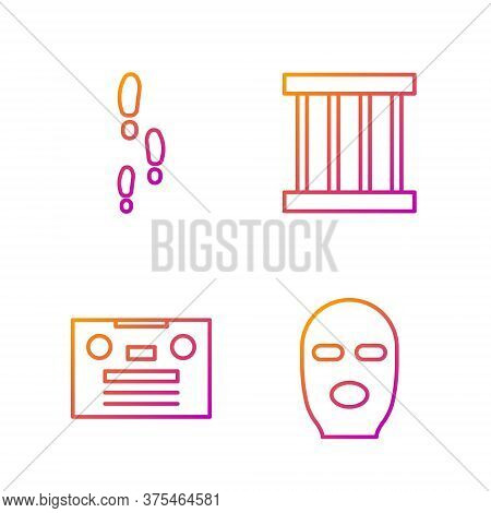 Set Line Thief Mask, Retro Audio Cassette Tape, Footsteps And Prison Window. Gradient Color Icons. V