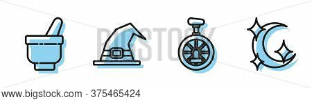 Set Line Unicycle Or One Wheel Bicycle, Magic Mortar And Pestle, Witch Hat And Moon And Stars Icon.