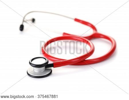Stethoscope, Device For Listening To Breathing. Elastic Sound-conducting Tubes Are Made High-quality