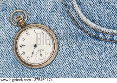 Retro Pocket Watch With Blue Jeans Denim Material With Stiches