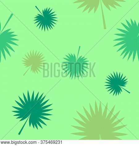 Exotic Tropical Verctor Background With Hawaiian Plants. Seamless Tropical Pattern With Palm Leaves