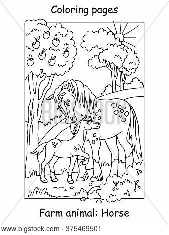 Vector Coloring Pages With Cute Horse And Her Foal Standing In Apple Garden. Cartoon Contour Illustr