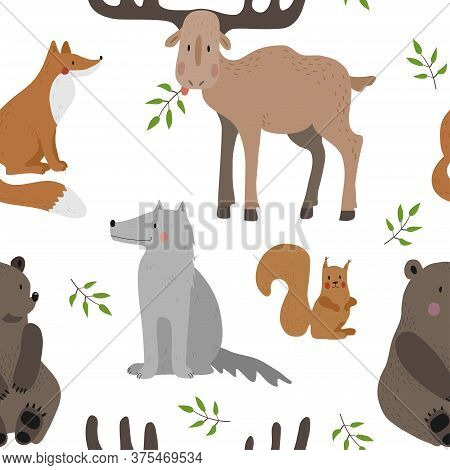 Seamless Vector Pattern With Brown Bear, Squirrel, Fox, Wolf And Moose On A White Background.