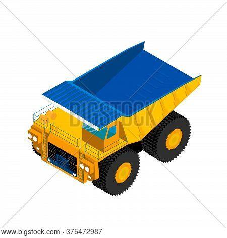 Isometric Big Mining Truck. Dump Truck. Geology