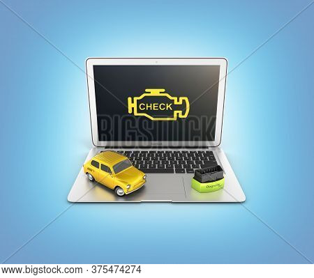 Car Diagnostic Concept Close Up Of Laptop With Obd2 Wireless Scanner And Retro Car On Blue Gradient