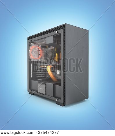 Computer Closed Transparent Cover With Red Lighting Effects And Water Cooled Cooling System On Blue