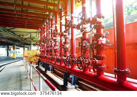 System Of Water Pipes And Control Valves Of The Water System In The Department Store.for Use Inside