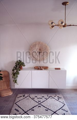Storage Cupboard With Rug And Lighting In Beautiful Contemporary Home