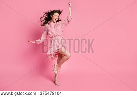 Full Length Photo Of Enthusiastic Girl Lady Look Good Copyspace Enjoy Rejoice Air Wind Blow Haircut