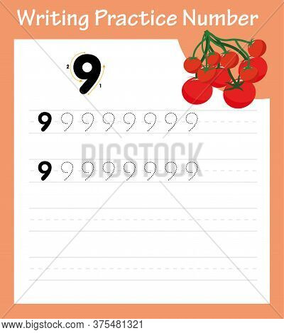 Learning Number 9 With Cartoon Tomatoes.tracking Worksheet Number Nine