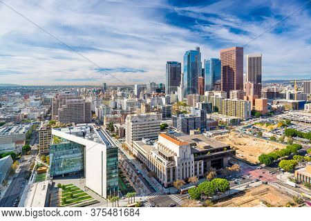 Los Angeles, California, USA downtown cityscape from above in the afternoon.
