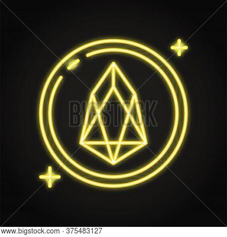 Eos Altcoin Symbol Icon In Neon Style