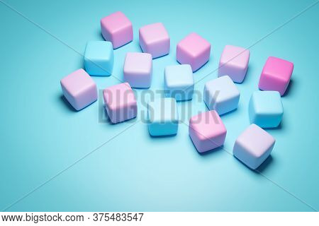 3d Illustration Of Rows Of Multi-colored Chewing Gum In Gradient Colors.set Of Chewing Gum On Blue B