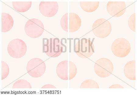 Cute Hand Drawn Abstract Irregular Polka Dots Vector Patterns. Pink And Cream Watercolor Style Dots