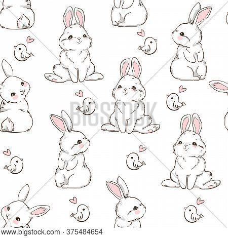 Seamless Pattern Rabbit. Hand Drawn Bunny And A Little Bird, Print Design Rabbit Background. Vector