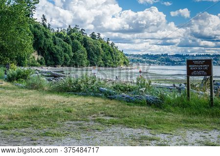 A View Of The Shoreline At Saltwater State Park In Washington State.