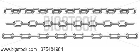 Chrome Metal Chains Isolated On White Background. Vector Realistic Set Of Straight Heavy Steel Chain