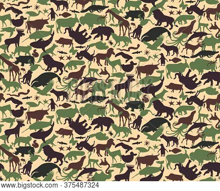 Seamless Camouflage Pattern With Animals For Kids. Animal Military Camouflage. Abstract Seamless Pat