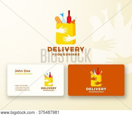 Flat Style Colorful Food And Drinks Delivery Abstract Vector Logo And Business Card Template. Paper