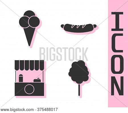 Set Cotton Candy, Ice Cream In Waffle Cone, Street Stall With Awning And Hotdog Sandwich Icon. Vecto