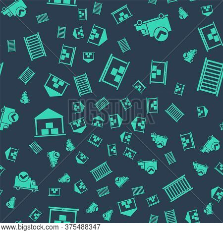 Set Warehouse, Delivery Truck With Check Mark, Warehouse And Container On Seamless Pattern. Vector