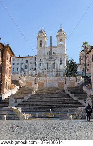 Empty Spanish Steps In Rome, Italy