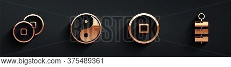 Set Chinese Yuan Currency, Yin Yang, Chinese Yuan Currency And Firework Icon With Long Shadow. Vecto