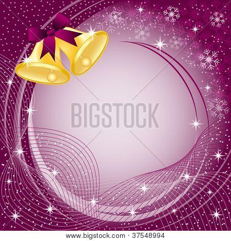 Gold Christmas Bells On Burgundy