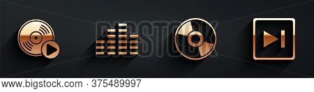 Set Vinyl Disk, Music Equalizer, Cd Or Dvd Disk And Fast Forward Icon With Long Shadow. Vector