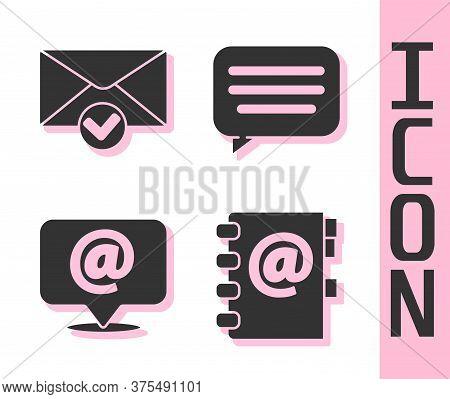 Set Address Book, Envelope And Check Mark, Mail And E-mail On Speech Bubble And Speech Bubble Chat I