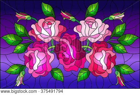 Illustration In Stained Glass Style With Flowers, Buds And Leaves Of Pink Roses On A Blue Background