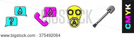 Set Phone With Emergency Call 911, Telephone With Emergency Call 911, Gas Mask And Fire Shovel Icon.