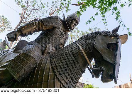 Gimhae, South Korea - June 18, 2017 : Replica Of Gaya Dynasty Horseman Bronze Statue In Gimehae, Sou