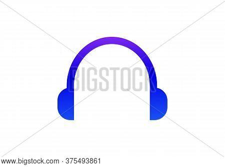 Dj Music Logo. Headphone Icon On White Background. Flat Style. Headphone Headset Icon For Your Web S