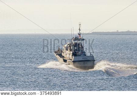 New Bedford, Massachusetts, Usa - January 18, 2018: U.s. Coast Guard 47-foot Motor Lifeboat Menemsha